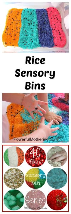 A collection of rice sensory bins!