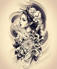 Japanese Tattoo Art, Japanese Tattoo Designs, Japanese Sleeve Tattoos, Japanese Art, Tattoo Drawings, Body Art Tattoos, Girl Tattoos, Tattoos For Guys, Hand Tattoos