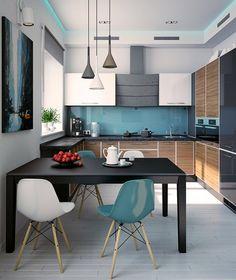 Цвет фартука поддержан цветом 2 стульев. Горизонтальные полосы цвета, единый потолок и пол.