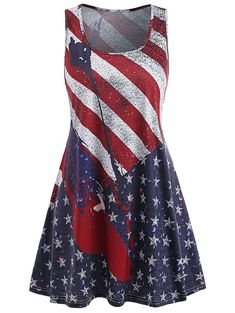 d0f21d03392 Lethez Clearance Womens Summer Sleeveless American Flag Dress Stars and  Stripes Racerback Tank Mini Dresses M Red    To learn more