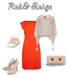 """red&beige"" by s-mihlik on Polyvore featuring мода, Boutique Moschino, Samoon, Casadei, Fendi и Red Camel"