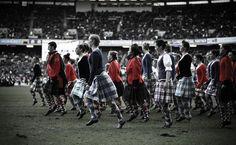 Highland dancers supporting Scotland - Scotland v England International 2010.
