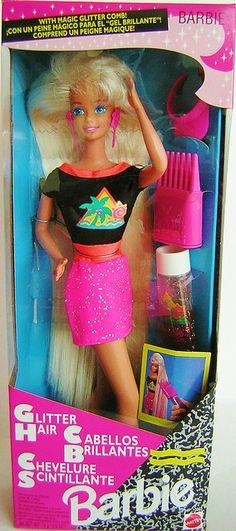 glitter hair barbie, 1990s throwback