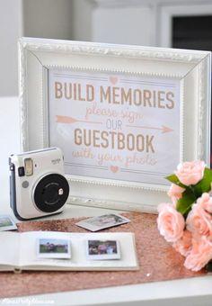 Photo Wedding Bridal Shower Guest Book with Fuji Instax | Kara's Party Ideas | Kara Allen 3