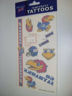 University Of Kansas Tattoos by NCAA. $2.49. Officially licensed temporary tattoos. Each tattoo sheet comes with a collection of ten different temporary tattoos. Tattoos are applied with a wet cloth and easily removed with clear tape. Made in USA.