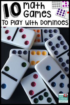 Children's Educational Games: Ten math games that students can play with dominoes to strengthen multiplication, decimal, and fraction skills. A FREE printable is included! Math Night, Second Grade Math, 1st Grade Math Games, Math Games For Kids, Free Math Games, Math Card Games, Learning Games, Play Math Games, Preschool Math Games