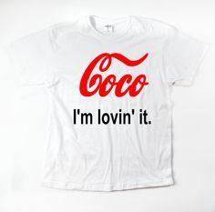 Coco I'm lovin' it adults unisex white t-shirts S by VeryRadTribe 17.99$