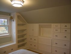 Simple White Wall Storage in Small Modern Apartment Bedroom Decorating Design Ideas