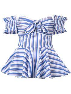 【Caroline Constas】 striped blouse. 472 ストライプ+ビックフリル+オフショルダーでトレンド取り過ぎな欲張りなデザインだと思う。