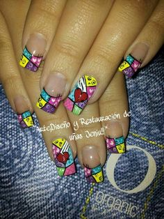 Resultado de imagen para uñas CON BRITO Fabulous Nails, Gorgeous Nails, Pretty Nails, Beautiful Nail Art, Crazy Nail Art, Cool Nail Art, Hot Nails, Hair And Nails, Hippie Nails