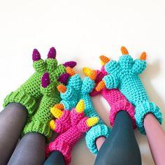Monster Slippers CROCHET PATTERN PDF Kids Womens di KnitsForLife