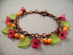 Flower Bracelet Tulip Garden Fuschia Pink Orange by justCHARMING, $23.00