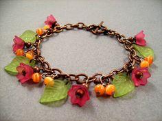 Flower Bracelet Tulip Garden Fuschia Pink Orange by justCHARMING, $23.00