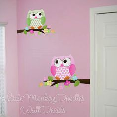 Owls Love Flowers Girls Nature Forest Bedroom by ToadAndLily Owl Bedrooms, Kids Bedroom, Bedroom Ideas, Owl Wall Decals, Owl Nursery, Art Wall Kids, Wall Art, Little Girl Rooms, Playroom