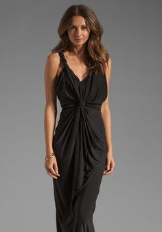 T-BAGS LOSANGELES Drape Front Maxi Dress in Black at Revolve Clothing - Free Shipping!