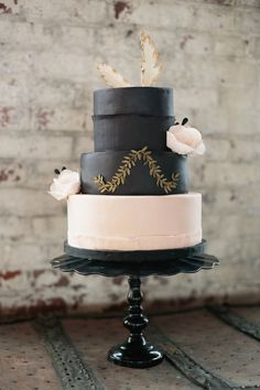 pretty black and blush wedding cake