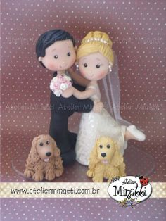Clay made cake topper - Bride, Groom & pups Polymer Clay Animals, Polymer Clay Dolls, Polymer Clay Projects, Clay Crafts, Cute Cakes, Pretty Cakes, Beautiful Cakes, Fondant Figures, Clay Figures
