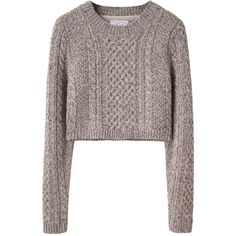 Opening Ceremony Cropped Cable Sweater (555 BRL) ❤ liked on Polyvore featuring tops, sweaters, jumper, shirts, women, long sleeve shirts, long sleeve crop top, cropped cable knit sweater, long sleeve collared shirts and cable knit sweater