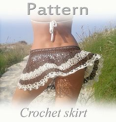 I would so pay someone to make this for me! PATTERN Crochet beach skirt PDF lace cover up