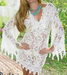 COWGIRL GYPSY Cream Lace Crochet Stretchy Fringe Beach Coverup Western Tunic Dress with FREE Slip
