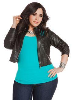 Faux Leather & Mesh Jacket - Ashley Stewart