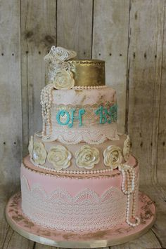 One of my new favorites!  Vintage Baby Shower cake