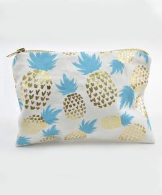 Blue & Goldtone Metallic Pineapple Cosmetic Bag $4.99 http://shopstyle.it/l/CaRN