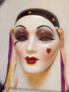 Clay Ceramic Face Wall Art Mask, Decorative Wall Hanging, Mime, Pierrot, by Unique Creations