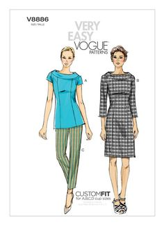 V8886 | Misses' Portrait Collar Top, Dress and Tapered Pants Sewing Pattern | Vogue Patterns