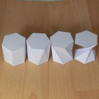 Do you want to know how this form is created from a flat plane? Check it out and hundreds more. four (twisted) hexagonal prisms