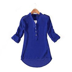 Women's Solid Color V Neck Chiffon Henley Shirt – USD $ 8.99