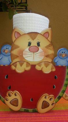 Portatoallas gato Tole Decorative Paintings, Tole Painting, Painting On Wood, Cat Crafts, Wood Crafts, Diy And Crafts, Wooden Projects, Diy Projects, Flower Pot Crafts