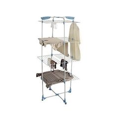 Minky Tower Indoor Clothes Airer- constructed from large tubular steel with a white coated frame offering a range of versatile drying options.