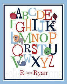 Nursery Wall DecorAlphabet ABC Number by HollyPopDesigns on Etsy
