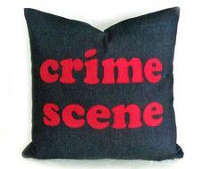 Guys Decorative Throw Pillow, Funny Man Cave Accent Pillow, CRIME SCENE Word Pillow Talk, Text Message, Dorm Decor, Geek Gift 20x20. $59.00, via Etsy.