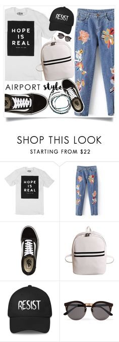 """""""Travel in style"""" by crittertank ❤ liked on Polyvore featuring Vans, Illesteva, Sarina, travel, airportlook and wanderlust"""