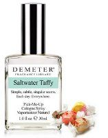 Saltwater Taffy Demeter Fragrance perfume - I love this scent! Sweet, creamy, lightly salty, absolutely delicious. And I got great longevity out of it - 3+ hours without respraying, which I think is very impressive for Demeter. Well worth the $10. Would repurchase.