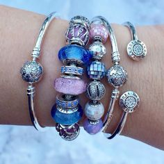 Winter morning light on pink and blue beads.  #theofficialpandora #pandorabracelets #pandorabeads #myarmparty #pandoraaddict #crystal #motherofpearl #muranoglass #sterlingsilver #essence #compassion #generosity #balance #uniqueasyouare #thelookofyou #wintermorning #pink #blue