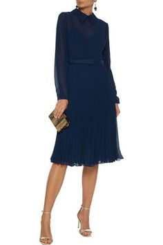 Mikael Aghal Belted Crepe De Chine-trimmed Pleated Chiffon Dress In Navy Work Dresses For Women, Dresses For Sale, Clothes For Women, Dress Sale, Crepe Dress, Chiffon Dress, Women's Knee Length Dresses, Navy Dress, One Piece Swimwear