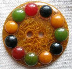 RARE Extra Large Vintage Antique Multicolored Bakelite Button ♥♥♥