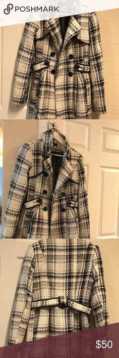 "Beautiful plaid coat! 33"" long wool plaid coat with faux leather trim! Gently used thrice! BCX Jackets & Coats Pea Coats"