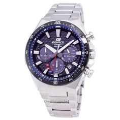 Save on Casio Edifice Solar Chronograph Men's Watch has Case / Bezel Material: Stainless Steel, Stainless Steel Bracelet, Solar Movement, Mineral Crystal, Black Textured Dial Casio Edifice, Seiko Watches, Stainless Steel Bracelet, Casio Watch, Chronograph, Bracelet Watch, Watches For Men, Solar, Accessories
