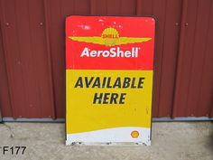 VINTAGE SHELL AEROSHELL OIL AVIATION SIGN ADVERTISING STOUT INDUSTRIES RARE  #Shell