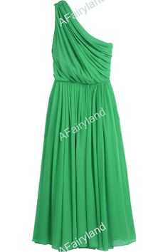 Tinkerbell bridesmaid peter pan wedding Green chiffon one-shoulder bridesmaid dress party dress in knee-length on Etsy, $78.00