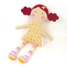 toy cloth doll , fabric rag doll , girl toy , dark red hair , corduroy dress , yellow and red ,  wool felt hair , curly hair. $39.00, via Etsy.
