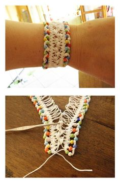 Crochet hairpin lace bracelets - step by step tutorial .Idea-> tat using big picots then hairpin lace together. Crochet Pretty Bracelets with Patterns Crochet hairpin lace bracelet Source by The post Crochet Pretty Bracelets with Patterns appeared first o Hairpin Lace Crochet, Bead Crochet, Crochet Crafts, Crochet Projects, Free Crochet, Hairpin Lace Patterns, Diy Projects, Bracelet Crochet, Lace Bracelet