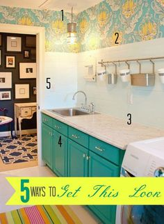 Laundry rooms may be work rooms, but that that doesn't mean they can't be pretty! Check out links to five tutorials to help you get the look of this bright and cheery turquoise and yellow wallpapered laundry room for LESS!