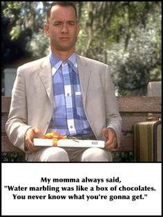 Water marbling is like a box of chocolates! Nail Polish Quotes, Polish Memes, Water Marbling, Manicure Tips, Chocolate Box, Sharpie, Chocolates, Nail Art, Sayings