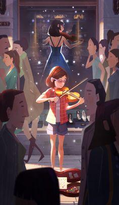 Dream, Aeron Ng-Dream, Aeron Ng illustration girl with violin - Art And Illustration, Character Illustration, Illustrations, Art Manga, Anime Art Girl, Cartoon Kunst, Cartoon Art, Fantasy Kunst, Fantasy Art
