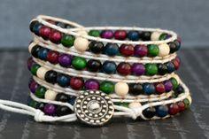 wrap bracelet- multicolored wood beads on cream cotton